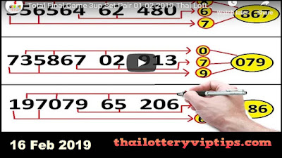 thai lottery 001 vip direct 3Up winning sets 16 February 2019
