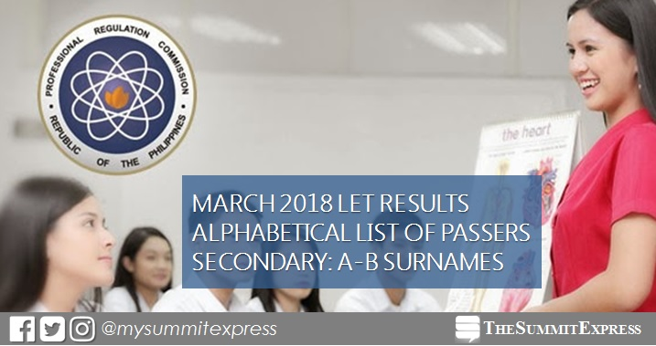 A-B Passers Secondary: LET Results March 2018