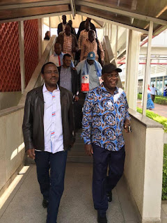 Kalonzo Musyoka with Mombasa wiper leaders Hezron awiti and Hassan Omar. PHOTO | Courtesy