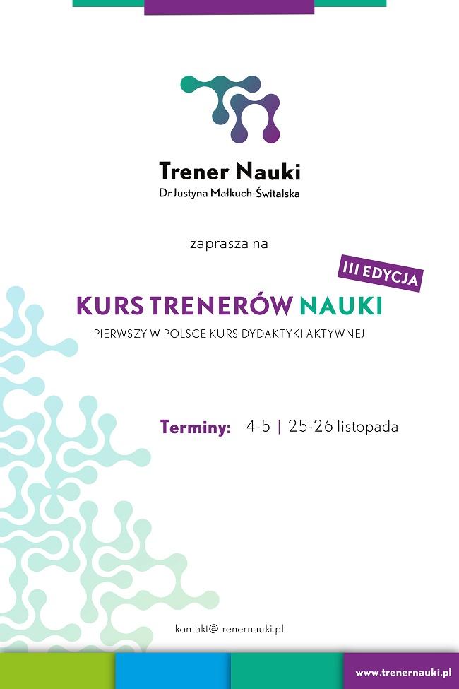 Kurs Trenerów Nauki - III edycja (plakat reklamowy)