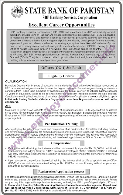 OG-1 Jobs in State Bank of Pakistan Jobs 2018