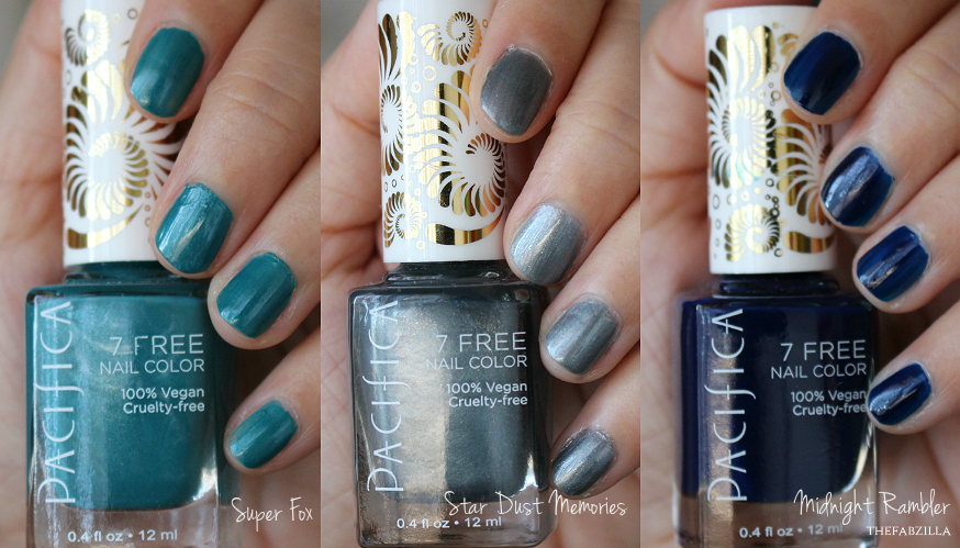 Pacifica Beauty 7 Free Nail Trio, super fox, midnight rambler, star dust memories, swatch