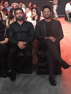 Surya with Allu Arjun in Filmfare 2017