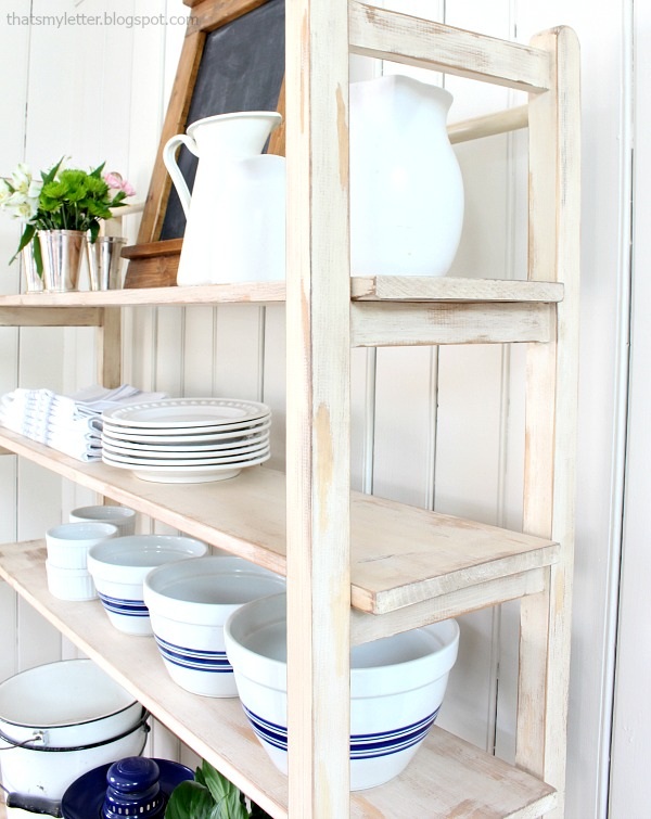 painted replica vintage shelving