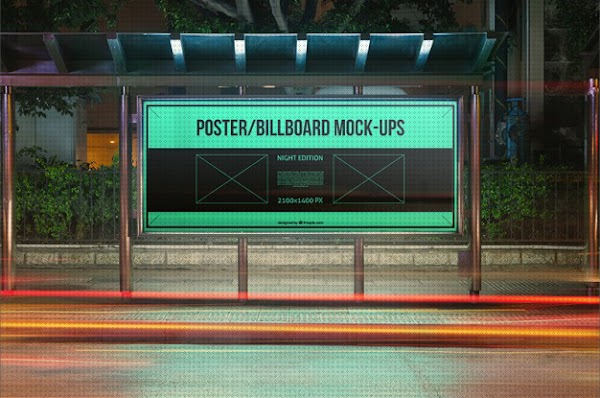 Mock Up de parada de autobus gratis [PSD Gratis]
