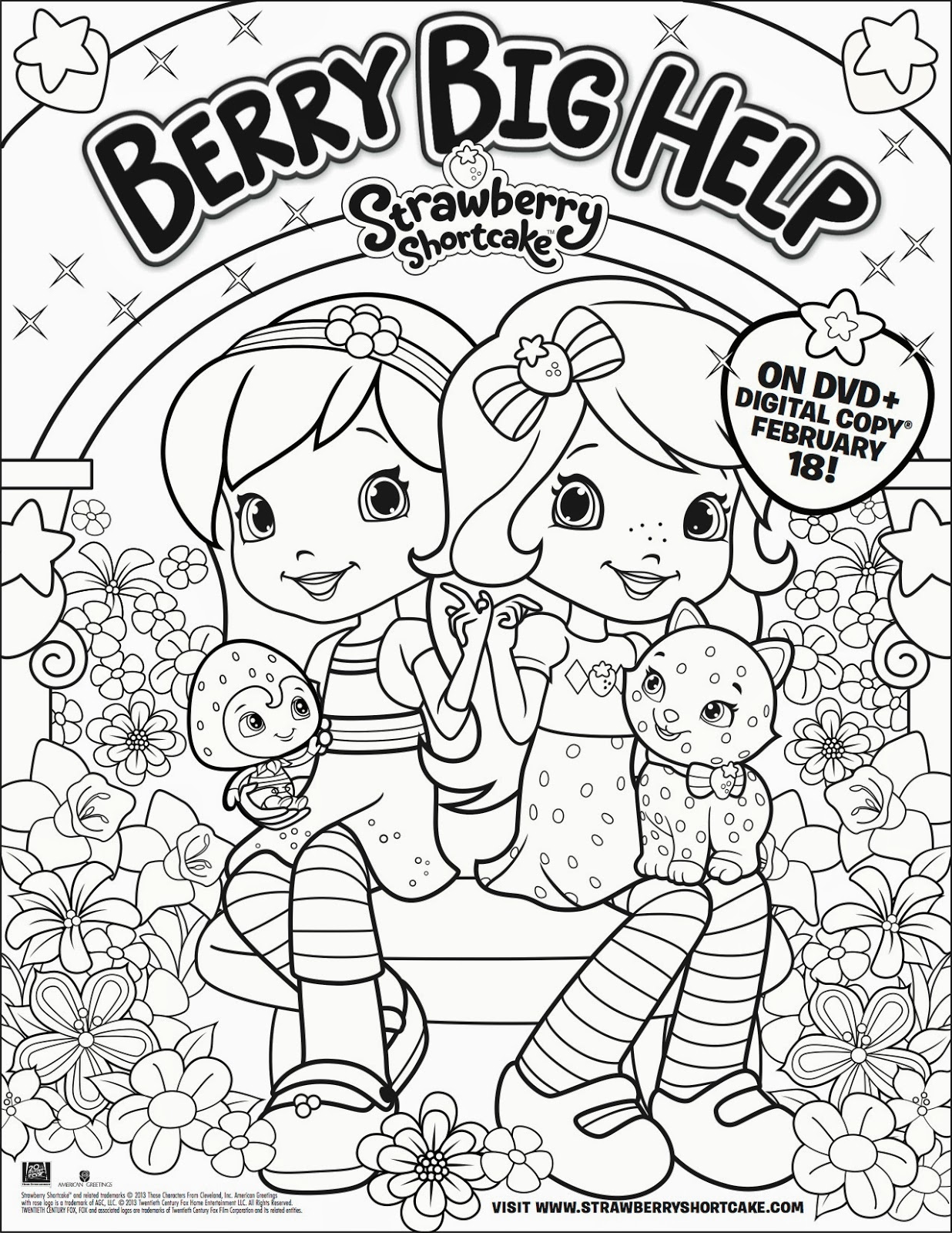 Strawberry Shortcake and Friends coloring page | Free Printable ... | 1600x1236