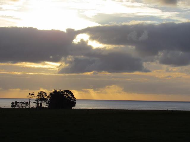 Atardecer en la costa oeste de la isla sur de Nueva Zelanda