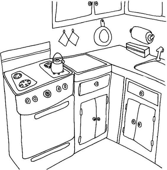 Tranh tô màu nhà bếp đơn giản đẹp