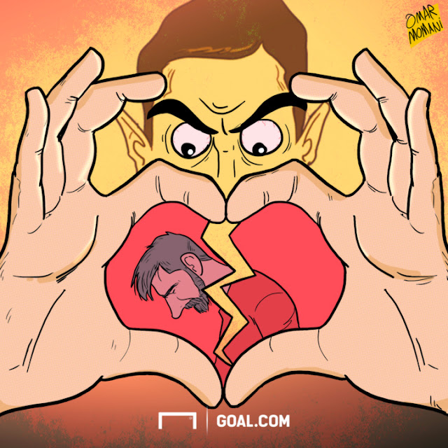 Di Maria breaks Messi's heart cartoon PSG