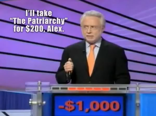 image of Wolf Blitzer on Celebrity Jeopardy with negative $1,000 on the board, to which I've added text reading: 'I'll take 'The Patriarchy' for $200, Alex.'
