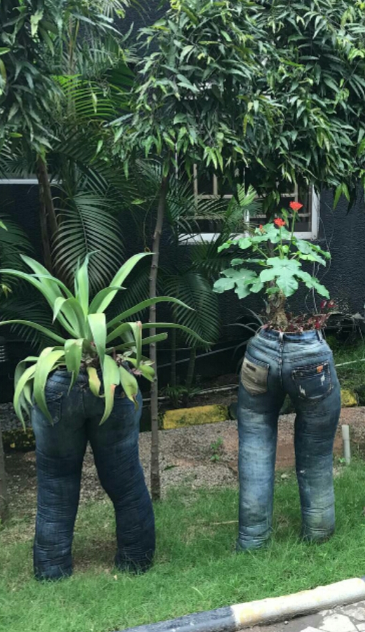 Checkout these denim flower pots