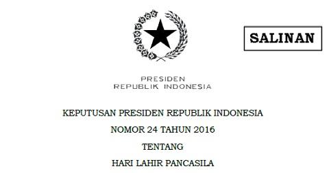 Hari Lahir Pancasila Ditetapkan Jadi Hari Libur Nasional Berdasarkan Keppres Nomor 24 Tahun 2016