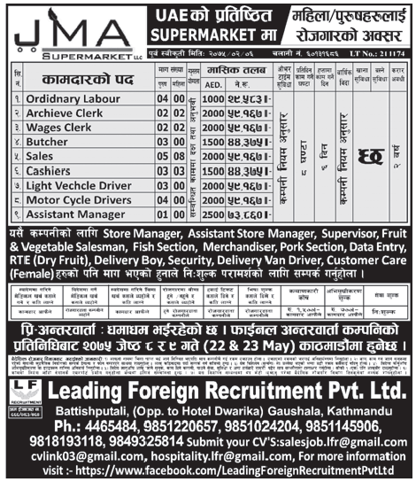 Jobs in UAE for Nepali, Salary Rs 73,860