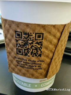 Companies use QR Codes on disposable coffee cups