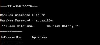 contoh skrip login menggunakan bahasa C