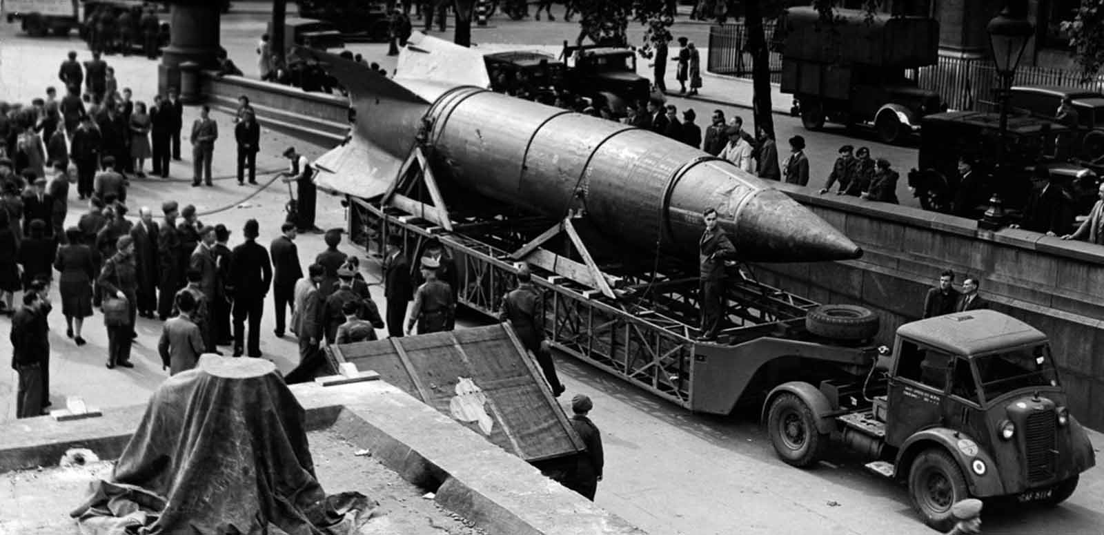 A V-2 rocket arriving in Trafalgar Square, London, to take part in the London National Savings Week campaign. 1945.
