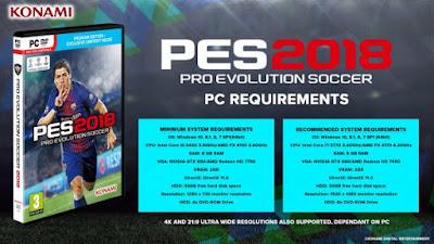 Spesifikasi MInimum PES 2018 Untuk PC Atau Laptop