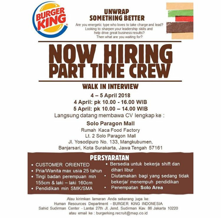 Kerja Part Time Di Burger King Indonesia
