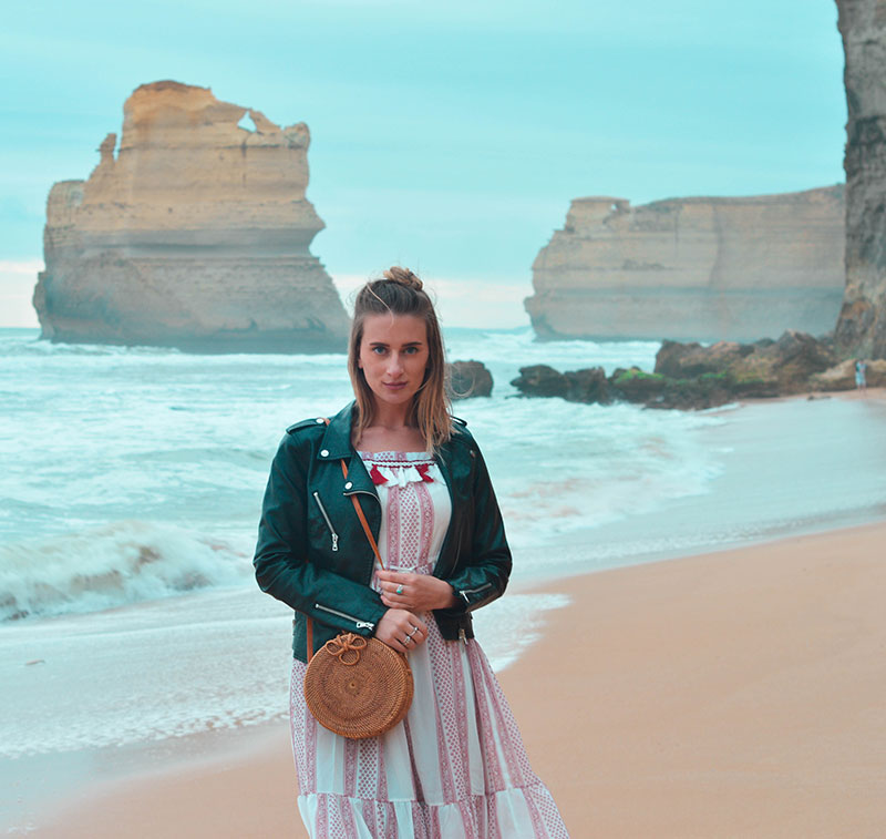 view of twelve apostles from gibson steps great ocean road summer outfit boho dress and round basket bag