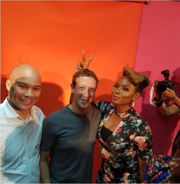Yemi Alade and Mark Zuckerberg..