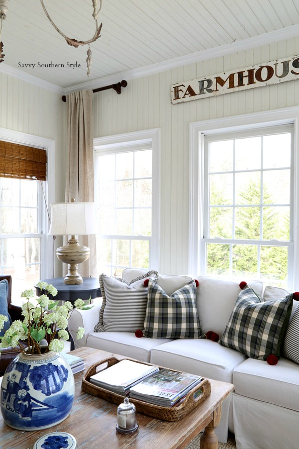 The Farmhouse Sign Was Put Back In Here And Pillows Were Changed Out I Used Plaid Ones On Bench For Christmas Now They Are Perfect