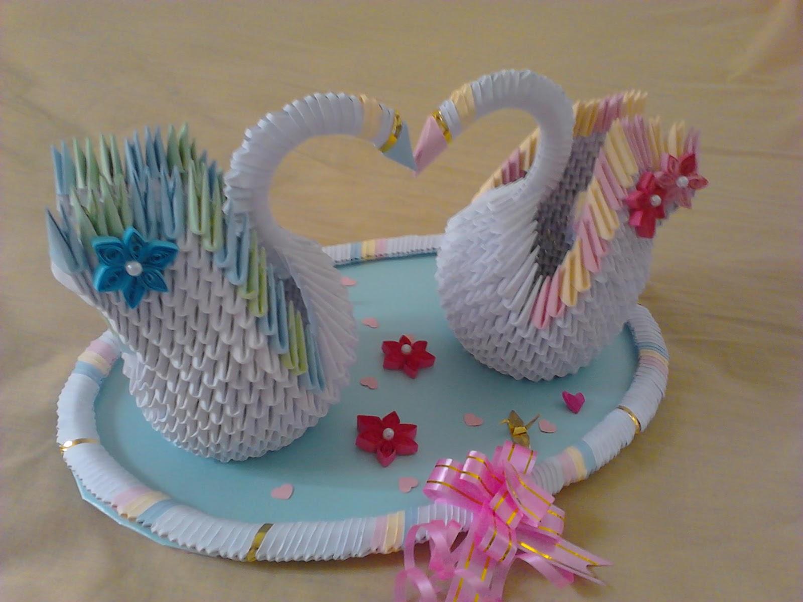 Jewellia handicrafts: 3D origami wedding swans - photo#39