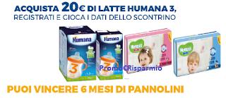 Logo Con Humana vinci Huggies ogni mese