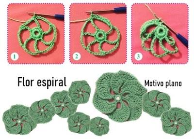 Flor espiral a crochet con gráfico en tutorial