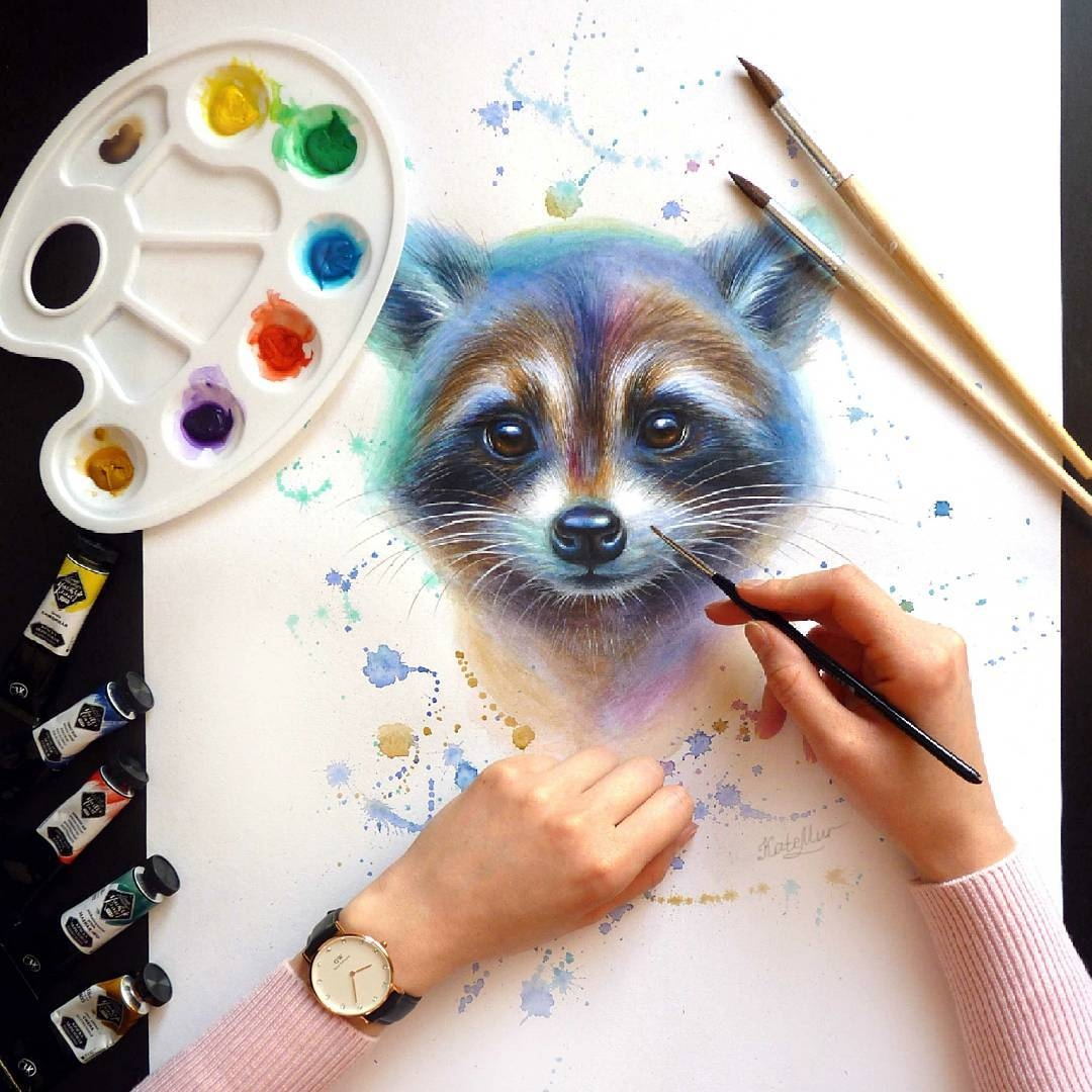 10-Raccoon-Kate-Mur-Fantasy-and-Realism-in-Paintings-and-drawings-of-animals-www-designstack-co