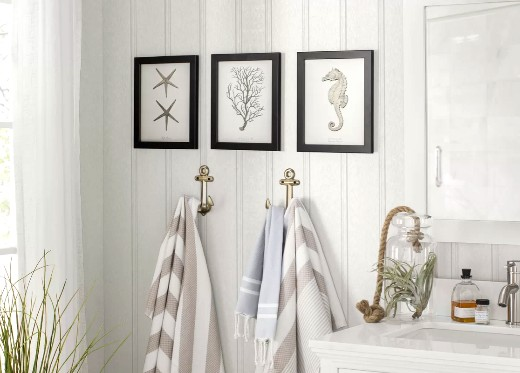 Coastal Art Sets for Bathroom Wall Decor