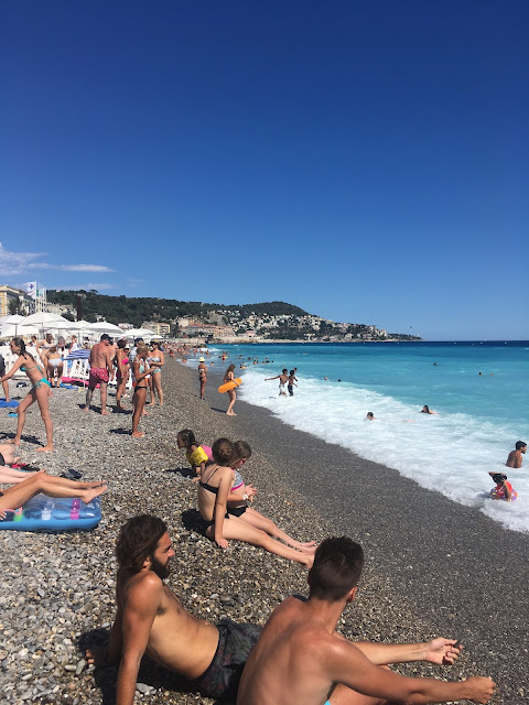 swimming at the beach in nice