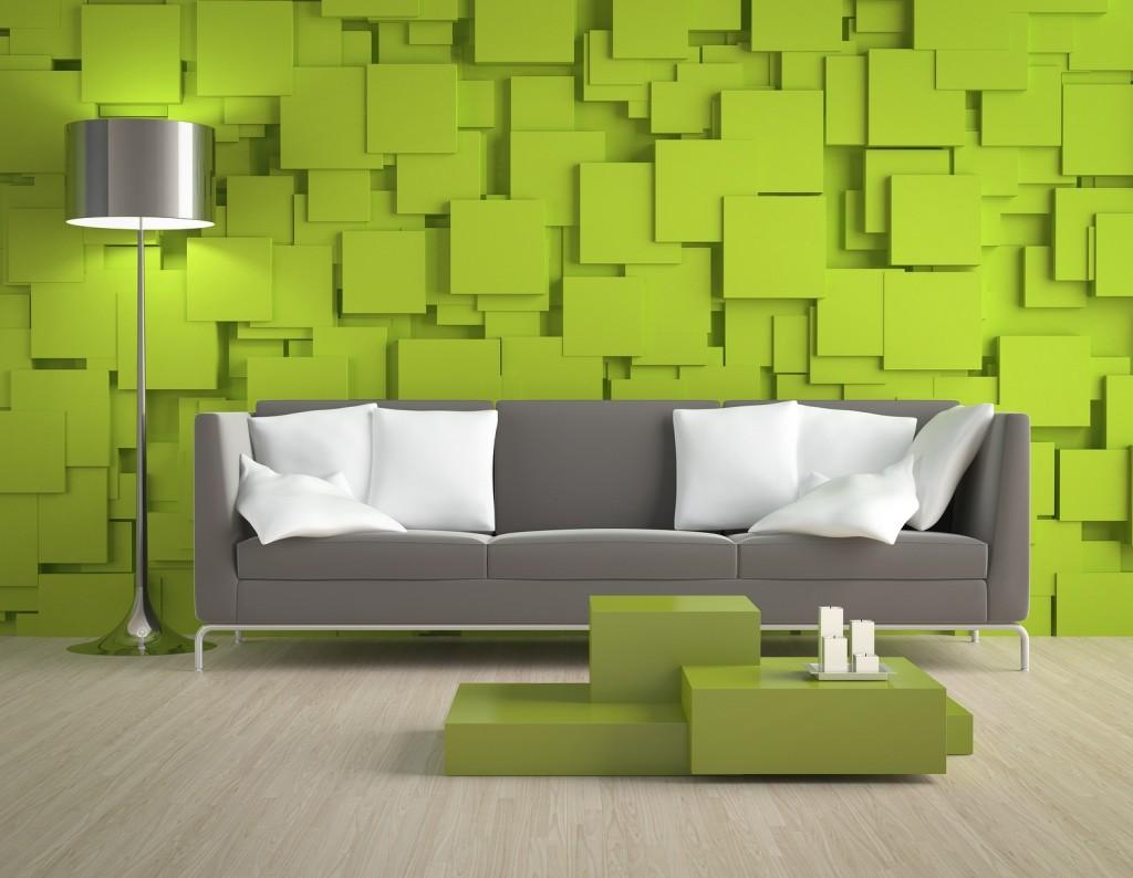 model wallpaper ruang tamu cantik hijau
