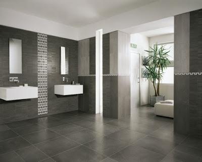Minimlist grey bathroom floor tiles ideas