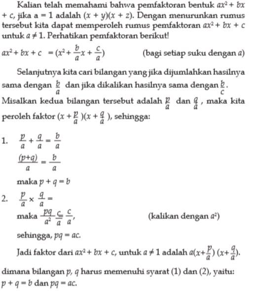 Faktorisasi ax2 + bx + c, jika a ≠ 1