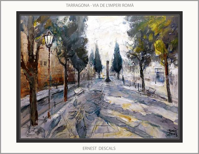 TARRAGONA-PINTURA-ART-HISTORIA-ROMA-VIA-IMPERI ROMÀ-QUADRES-PAISATGES-CATALUNYA-ARTISTA-PINTOR-ERNEST DESCALS-