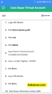 cara bayar virtual account Payfazz di Mobile BRI