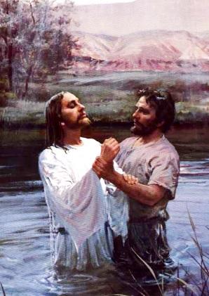Imagen de Jesus siendo bautizado por Juan el Bautista a color