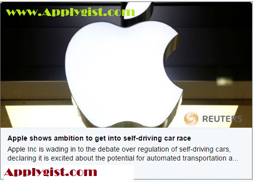 Apple shows ambition to get into self-driving car