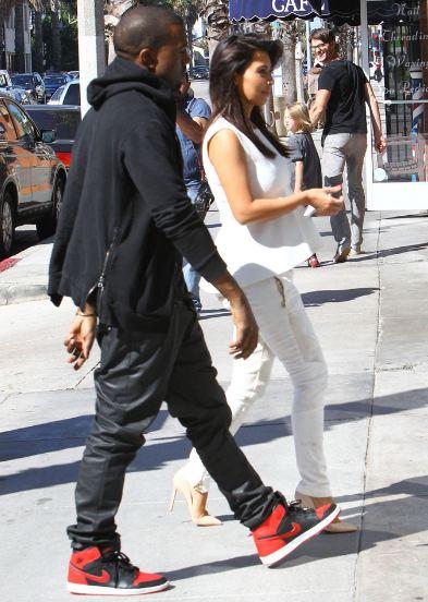 b29494ee8aa3e1 Celeb Sneaker Game  Kanye West Rockin Air Jordan 1 Sneakers With Kim ...