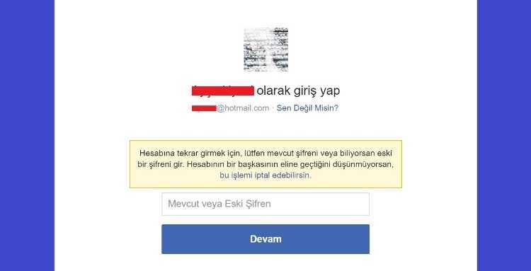 Şifre ekranı geldiğinde Facebook sizden giriş yapmayı denemenizi isteyecektir.