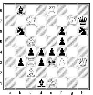 Problema de mate en 2 compuesto por Gérard Doukhan (1ª Mención de Honor, Diagrammes 1979)
