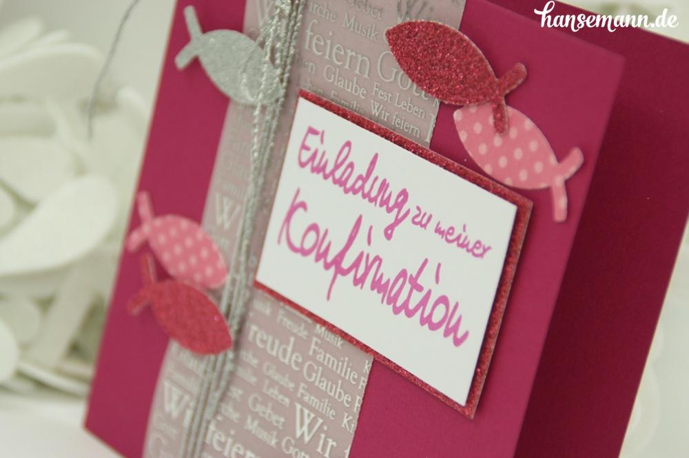 konfirmation kommunionskarte in pink f r die m dels. Black Bedroom Furniture Sets. Home Design Ideas