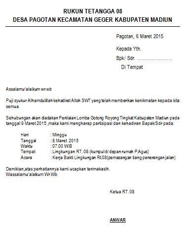 Contoh Surat Undangan Gotong Royong Rt Suratmenyurat Net