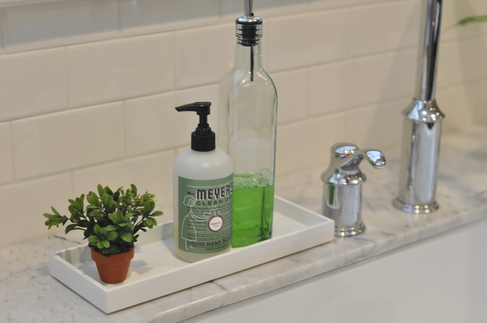 kitchen soap knife holder pretty trays for the honey we re home dish is decanted in a glass bottle from goods probably meant olive oil but it looks so much prettier than my plastic of dawn