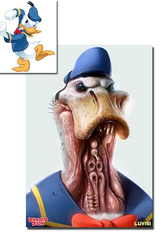 Personagens de desenhos como se fossem de carne e osso - Pato Donald