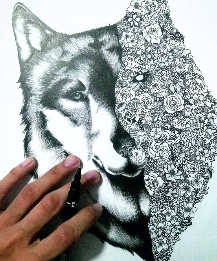 07-Wolf-Doodle-Rocky-Villaruel-www-designstack-co