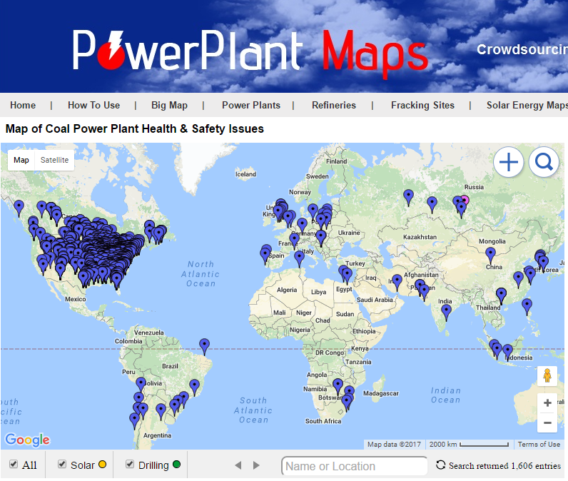 Map of Coal Ash Ponds from Power Plants