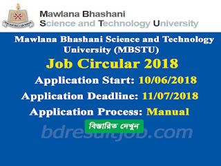 MBSTU Teacher Recruitment Circular 2018