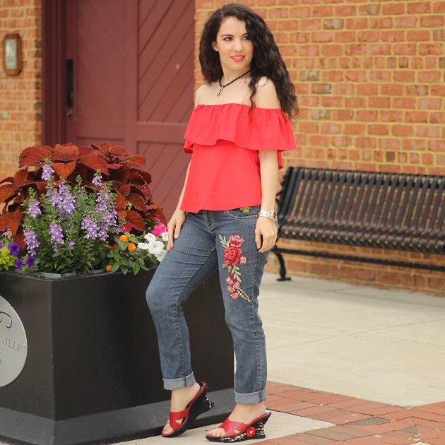 Red OTS Ruffle Top