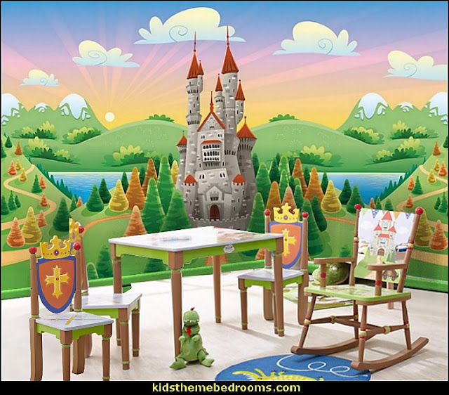 Knights and Dragons Table and chairs castle wall mural  Medieval Knights & Dragons decorating ideas - knights castle decor - knights and dragons theme rooms - dragon theme decor - prince decor - medieval castle wall murals - knights and dragons baby bedding - Knights Medieval bedding - dragon bedding - dragon murals - dragon themed bedroom ideas - medieval castle furniture - Prince Crown Royal Theme Princess decor